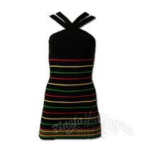 Rasta and Reggae Multi Stripe Knit Mini Dress