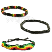Rasta Wood Beads and Fabric Bracelet - 3 Piece Set