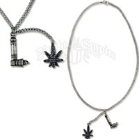 Pipe and Leaf Charm Necklace