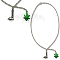 Pipe and Green Leaf Charm Necklace