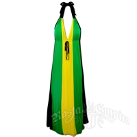 Jamaican Long Halter Dress with Tie
