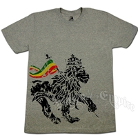 Rasta Flag Lion Concrete Grey T-Shirt - Men's