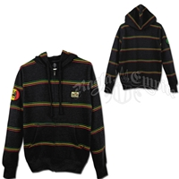 Bob Marley Rasta Stripe Charcoal Zip Hoodie - Men's