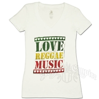 Rasta Love Reggae Music V-Neck White - Women's