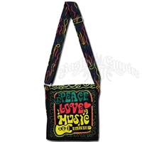 Rasta Peace Love Music Square Purse