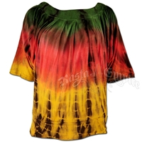 Rasta and Reggae Tie-Dye Dolman Top