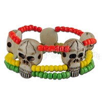 Rasta and Skull Three String Bracelet