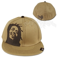 Bob Marley Face and Lion Khaki Cap