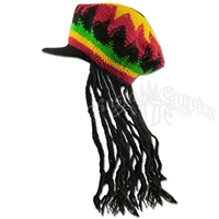 Adult Fake Dreadlocks Crocheted Brimmed Hat