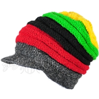 Rasta Wide Ribbed Wool Brim Cap