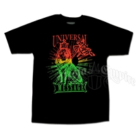Rasta Lion Universal Message Black T-Shirt - Men's