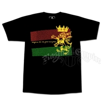 Rasta Ites Gold and Green Black T-Shirt - Men's