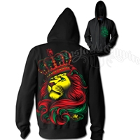 Rasta Lion and Crown Black Hoodie – Men's
