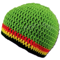 Rasta Crochet Beanie Hat - Bright Green