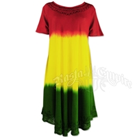 Rasta Tie-Dye Short Sleeve Summer Dress
