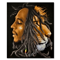 Bob Marley & Lion Profile Canvas Painting 27