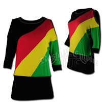 Rasta and Reggae Cut-Out Shoulder Diagonal Top