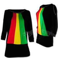 Rasta and Reggae Cut-Out Shoulder Vertical Top