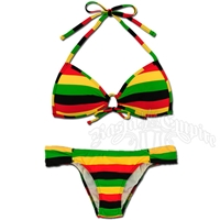 Rasta & Reggae Keyhole Top and Rio Bottom Bikini Swimsuit