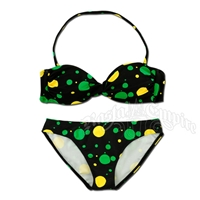 Jamaican Dot Twist Front Bandeau and Bottom Bikini Swimsuit