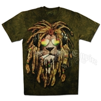 Rasta Smokin Lion Tie Dye T-Shirt - Men's