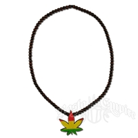 Rasta Wooden Bead Weed Leaf Necklace - Black