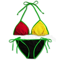 Rasta and Reggae Triangle & String Bottom Swimsuit