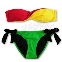 Rasta and Reggae Twist Front Bandeau and Side Tie Bottom Bikini Swimsuit