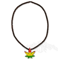 Rasta Wooden Bead Weed Leaf Necklace - Brown