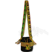Rasta and Reggae Horizontal Stripe Drawstring Bag with Tassels
