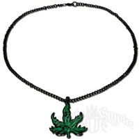 Black and Green Tribal Marijuana Leaf Charm Necklace