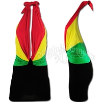 Rasta Drape Halter Top Mini Dress