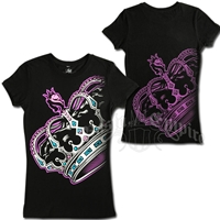 Lion and Crown Black T-Shirt - Women's