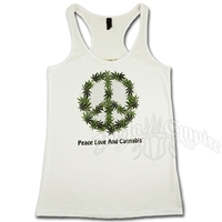 Peace, Love, Cannabis White Racer Back Tank Women's