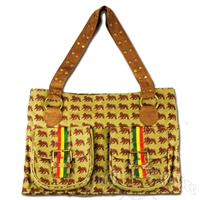 Dub Wise Allover Lion Handbag - Khaki