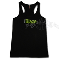 I Blaze Black Racer Back Tank Top - Women's