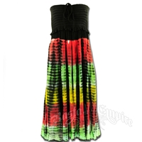 Rasta and Reggae Smocked Tie-Dye Dress - Women's