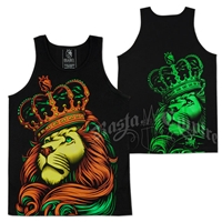 Rasta Lion and Crown Black Tank Top - Men's