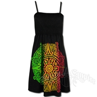 Rasta and Reggae Aztec Calendar Short Smocked Dress - Women's