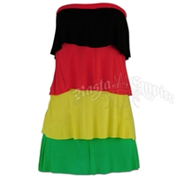 Rasta Tiered Tube Top Short Dress