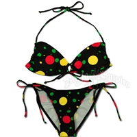 Rasta and Reggae Dot Keyhole Top and String Tie Side Bikini Swimsuit