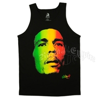 Bob Marley Face and Redemption Black Tank Top - Men's