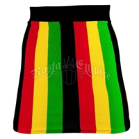 Rasta and Reggae Vertical Stripe Knit Mini Skir