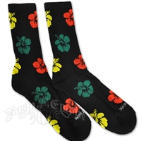 Rasta Hibiscus Black Socks