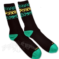 Jamaican Leopard Striped Black Socks