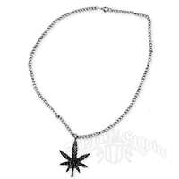 Marijuana Black Leaf Charm Necklace -