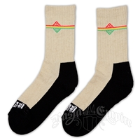 Rasta Stripe Cream Crew Socks