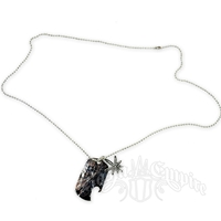 Sunburst Leaf Charm Dog Tag Necklace