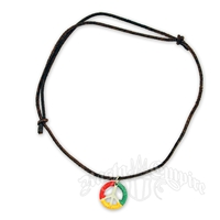 Rasta Peace Sign Leather Necklace