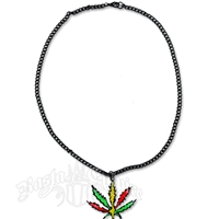 Rasta Marijuana Leaf Charm Necklace
